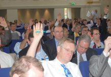 BMA delegates voting to defend the NHS at yesterday's consultants conference in London