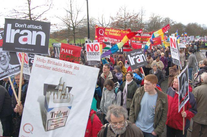 Demonstrators in London against the war on Iraq demanding no attack on Iran