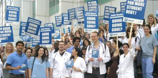 Hundreds of medical students demonstrated on the steps of University College London Hospital yesterday, demanding their right to accommodation when they become junior doctors