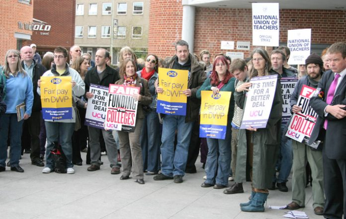 Civil sevants, teachers and lecturers at a rally in Norwich during their national strike over pay on April 24th
