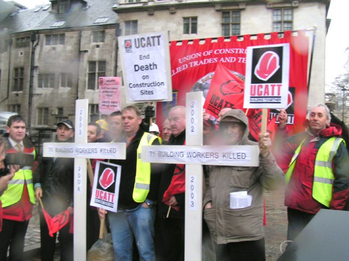 Construction workers lobbying parliament on the day of a private members Bill to hold directors of companies where there are deaths in the workplace be held to account – the Bill was not passed as not enough MPs turned up to vote