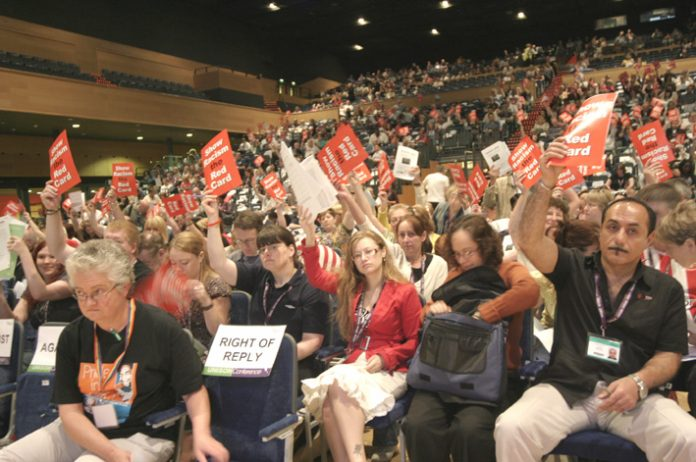 UNISON delegates voting at the conference yesterday