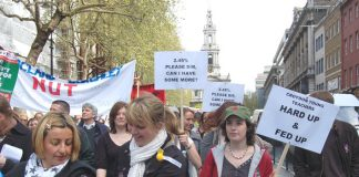 Young teachers marching in London during their strike over pay on April 24th