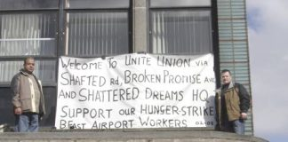 TGWU members from Belfast protesting outside the union's offices