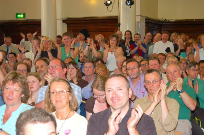 Part of the audience at the recent TUC Public Services rally in Westminster applauding calls for public sector-wide strike action