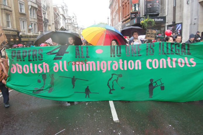 Demonstrators in London in May last year against all immigration controls
