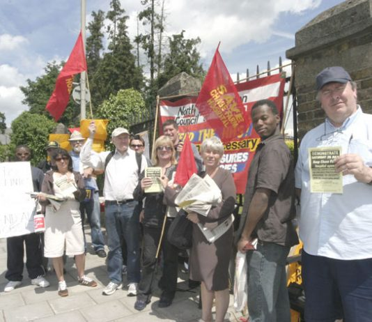 A section of the mass picket outside Chase Farm Hospital yesterday