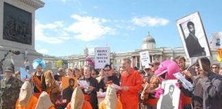 Protesters in Trafalgar Square on June 15th demanding the release of Binyam Mohamed and all political prisoners fron Guantanamo Bay prison