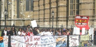 A section of the picket of the House of Lords Appeal by Chagos Islanders and their supporters