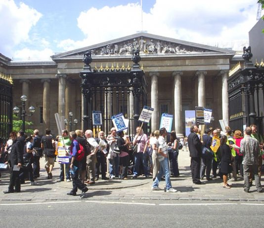 Some of the 300 PCS and Prospect members on strike outside the British Museum on Friday