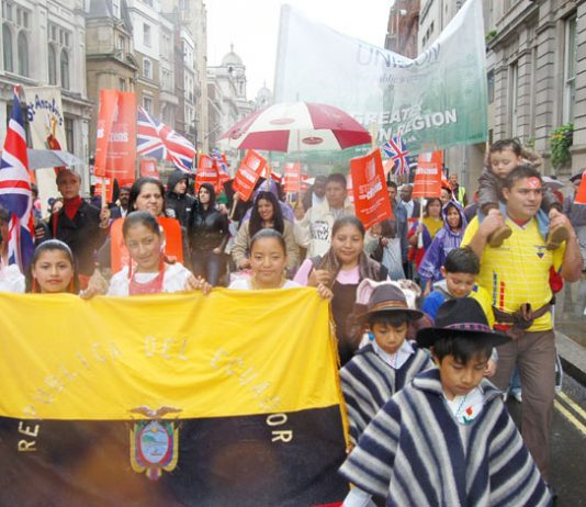 Children of south American asylum seekers on a march for migrant rights in May last year