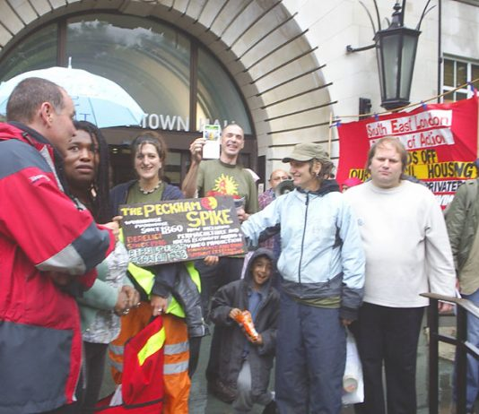South-East London Council of Action members along with users of the 'Peckham Spike' community project  lobbying Southwark Town Hall on Wednesday evening