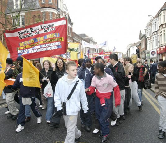 The front of last November's 3,000-strong march through Enfield against the closure of Chase Farm Hospital