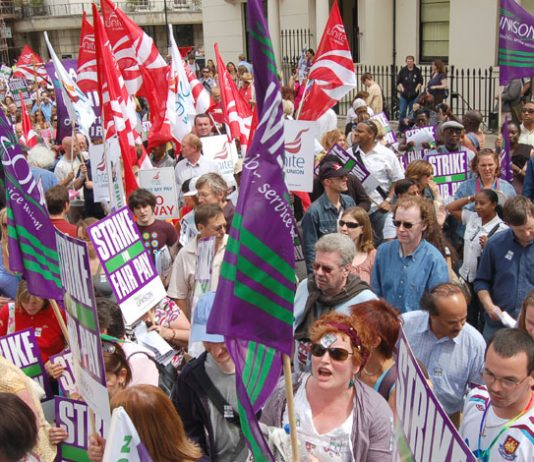 Striking UNISON and Unite members demonstrating in the centre of London yesterday