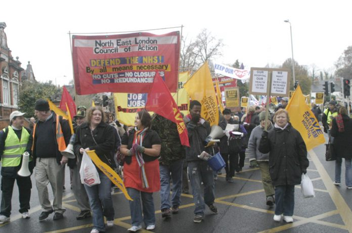 Local residents, staff, trade unionists and young people joined a march last November to oppose plans to close Chase Farm. They will march again on Saturday July 26 to save the hospital