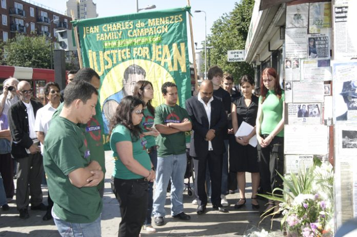 Family members gather around Stockwell shrine on 3rd anniversary of the the killing of Jean Charles de Menezes yesterday