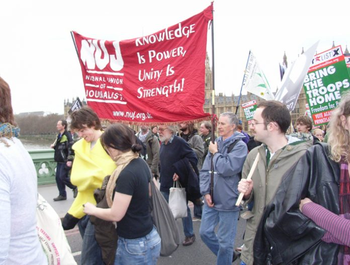 National Union of Journalists banner on the anti-Iraq war demonstration last March