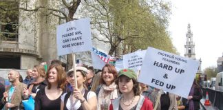 Teachers marching in London on April 24th during their strike action against the government's 2.45% pay offer