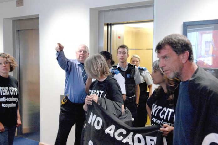 Protestors against the proposed Wembley Academy occupied the London HQ of ARK – the proposed sponsors – who called security guards and the police. The occupiers were elated that they managed to get into the heavily secured building.  Photo credit: GUY SMA