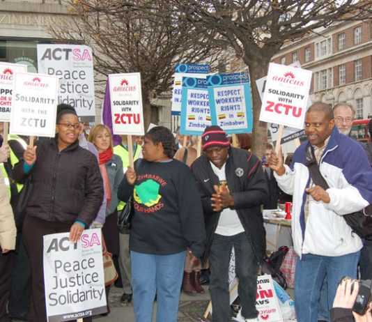 A picket of the Zimbabwean embassy in central London last year against repression of trade unionists that was joined by British trade union leaders