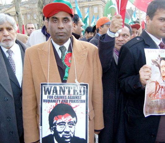 Demonstrators in London last year demanding the ending of Musharraf's military regime