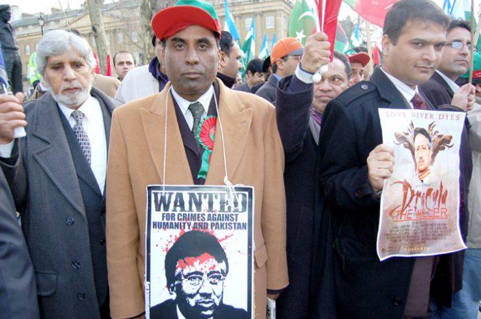 Demonstrators in London last year demanding the ending of Musharraf's military regime