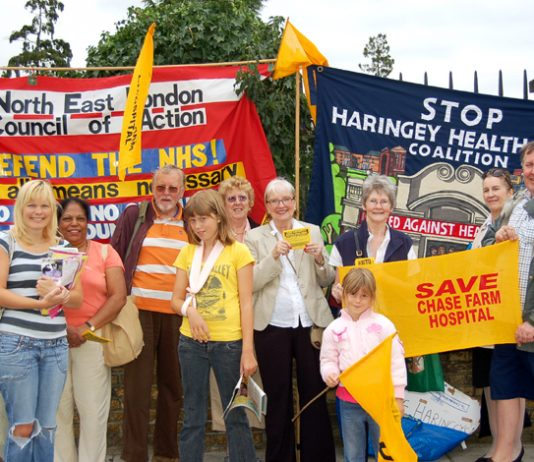 Campaigners against cuts at St Ann's Hospital joined the Chase Farm picket yesterday