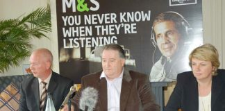 GMB General Secretary PAUL KENNY (centre) at yesterday's press conference with Marks and Spencer 'whistleblower' Tony Goode (left) and his representative MARIA LUDKIN (right)