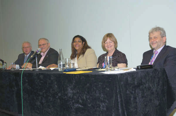 From left to right: Keith Sonnet (UNISON), Brian Caton (POA), Hengride Permal (chair, Chagos Islands Community Association), Sue Bond (PCS) and Richard Ascough (GMB) on the platform at yesterday's meeting at the TUC in Brighton