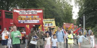 North East London Council of Action march in Enfield demanding that Chase Farm Hospital be kept open