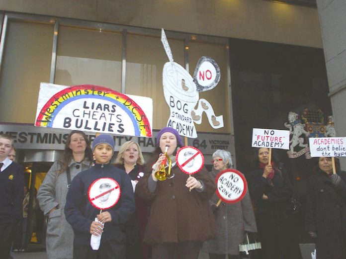 Pimlico School anti-academy protest outside Westminster council in March this year