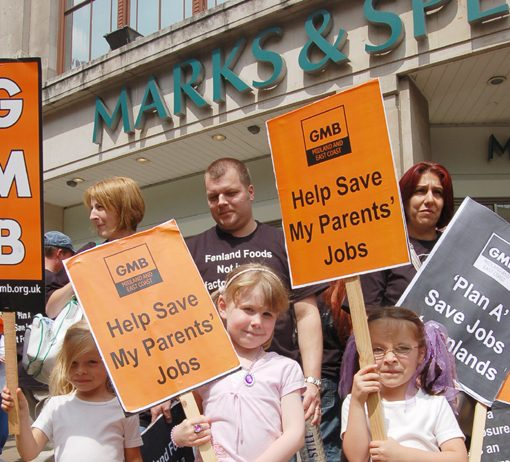 Workers from Marks and Spencer supplier Fenland Foods demonstrate with their children outside a London M&S store – the banking crisis poses a grave threat to millions of workers' jobs