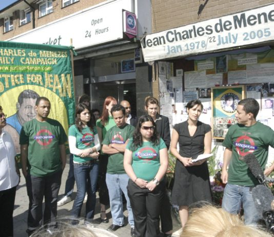 Family and friends of Jean Charles de Menezes at a vigil outside Stockwell Tube station last July 22nd, the 3rd anniversary of his killing