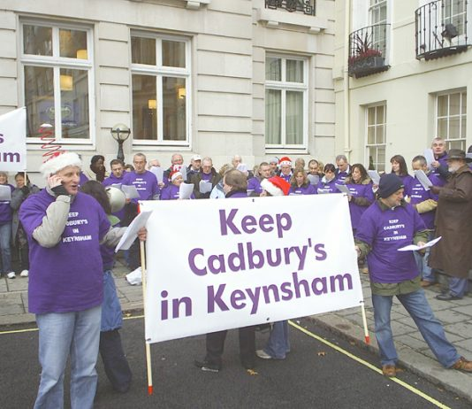 Cadbury's workers in London last December to fight for their jobs