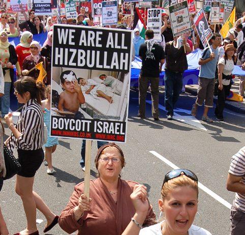London demonstrators in August 2006 denounce the Israeli invasion of Lebanon