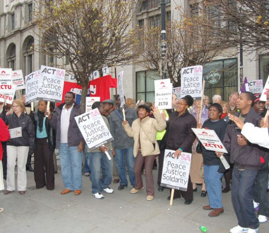 Picket of the Zimbabwe embassy on London last April in support of the Zimbabwe Congress of Trade Unions