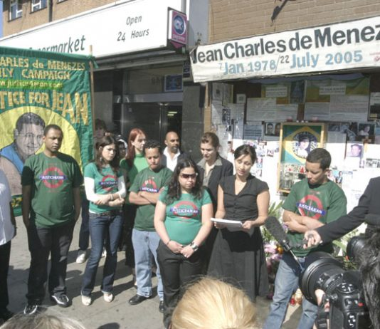 Vigil by family and friends of Jean Charles de Menezes outside Stockwell Tube station on July 22nd, the third anniversary of his shooting