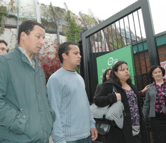 ALEX and ALESSANDRO PEREIRA and PATRICIA DA SILVA ARMANI outside the venue for their cousin Jean Charles De Menezes' inquest yesterday morning