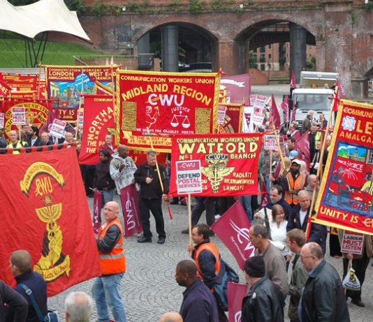 CWU branches from all over the country brought their banners to Manchester on Monday