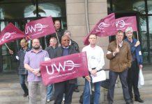 Striking Romec workers in Westminster yesterday