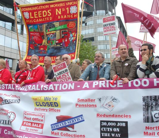 A section of the CWU members lobbying the Labour Party Conference in Manchester on Monday determined to defend their jobs and pensions