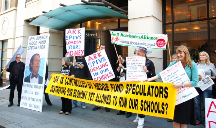 Anti-academy protestors demonstrating outside the headquarters of ARK yesterday
