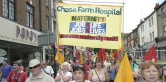 Maternity ward workers on the North East London Council of Action demonstration in Enfield on July 26th demanding that Chase Farm Hospital be kept open