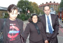 Maria Otone de Menezes, the mother of Jean Charles de Menezes, is accompanied by Jean's brother Giovani and a member of the Justice4Jean campaign to the Oval Inquest in south London yesterday morning, where police commander Dick gave evidence