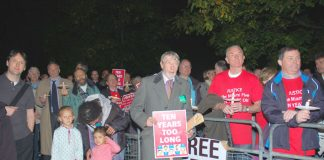 A section of the 500-strong rally outside the US embassy in London on Tuesday night demanding the release of the 'Miami Five'