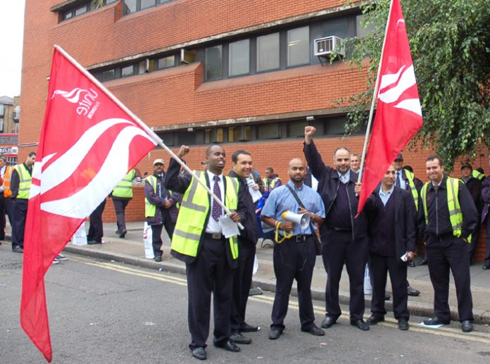 Bus workers on the picket line at Westbourne Park garage in west London. Drivers are striking again today in their struggle for 'fair pay and fair treatment'