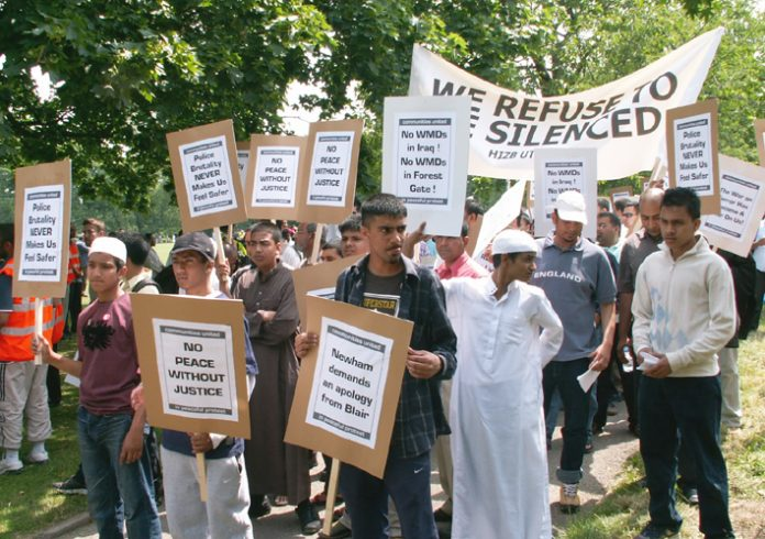 Youth from the Forest Gate community demonstrating in June 2006 following the shooting of a young postal worker by police during an anti-terror raid