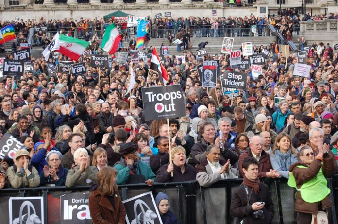 Section of the Trafalgar Square rally in February last year against the war on Iraq