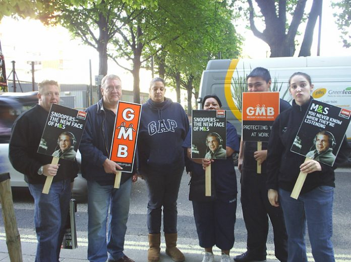 Demonstration in support of sacked GMB member Tony Goode outside the Marks and Spencer head offices on September 29th