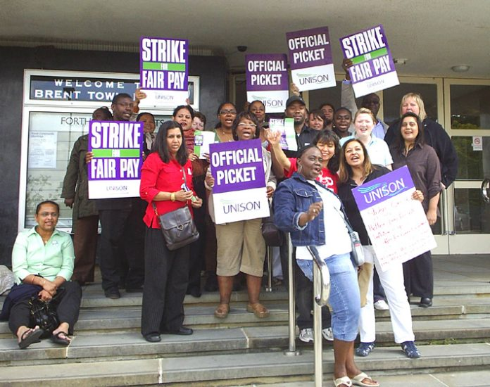 Confident UNISON pickets at Brent Town Hall during the strike over pay on July 16th